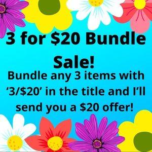 3/$20 Bundle Sale!